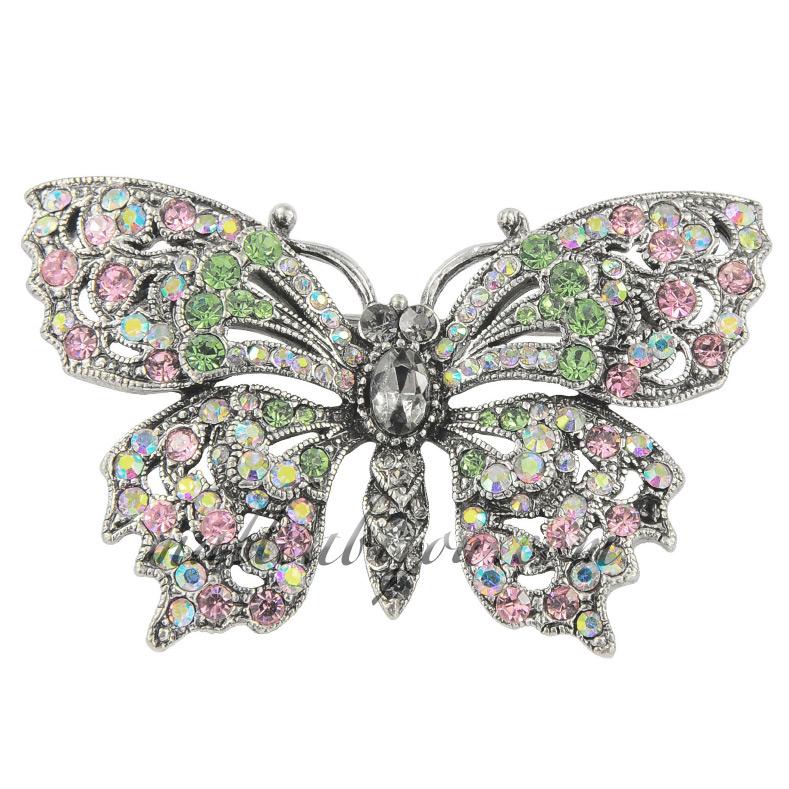 Broche papillon en cristal